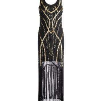 Joanna Hope Sequin Fringe Dress