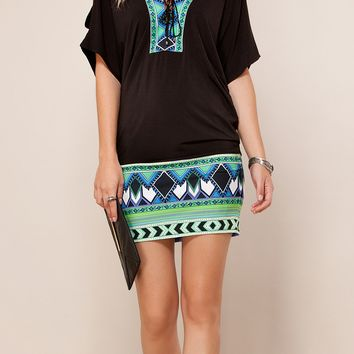 Black Printed Jersey Tunic Dress
