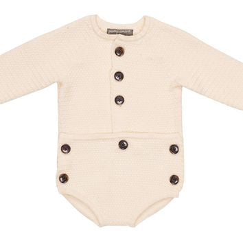 Pompomme Unisex-baby Off-white Knit Button Romper