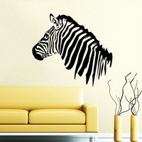 Wall Decals Zebra Animals Jungle Safari African Childrens Decor Kids Vinyl Sticker Wall Decal Nursery Bedroom Murals Playroom Art SV6124