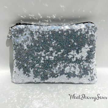Glittery Sparkly Silver Sequined Clutch/Makeup Pouch/Toiletries Pouch/Purse With Black Zipper and Optional Color Bead Zipper Pull