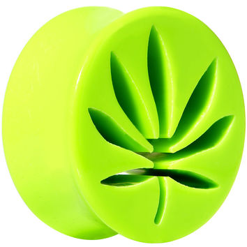 20mm Bright Green Acrylic Hollow Pot Leaf Double Flare Saddle Plug