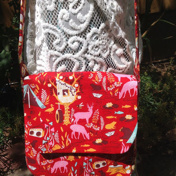 Forest Friends and Fun Red Camping Print Saddlebag Shoulder Bag