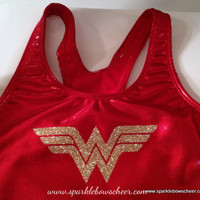 Woman Wonder Super Hero Metallic Sports Bra by SparkleBowsCheer