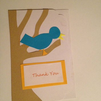 Set of 7 Handmade Bird Thank You Cards by kimgraydiaz on Etsy
