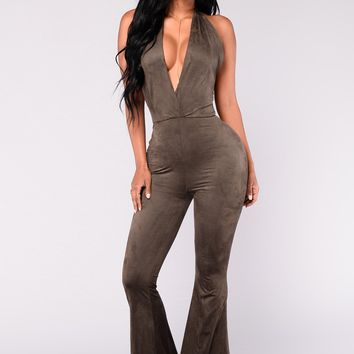 Good Times Coming Suede Jumpsuit - Olive