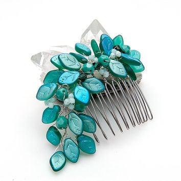 Teal Bridal Hair Comb with Leaves, Teal Leaf Hair Comb, Teal Bridal Hair Accessories,  Wedding Accessories, Teal Hair Fastener