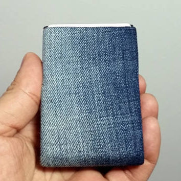 Denim Wallet Made from Recycled Jeans, Minimalist Wallet, Mens Wallet, Womens Wallet, RFID Wallet - Limited Edition Unique Minimalist Wallet