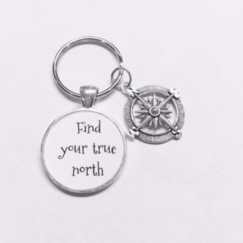 Compass Find Your True North Inspirational Nautical Graduation Gift Keychain