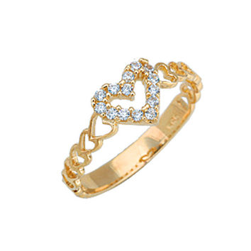 Heart 14k Solid Gold Ring