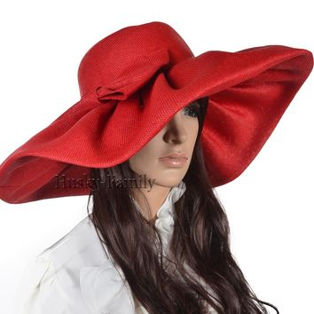 Kentucky lady wedding church hat Derby wide brim with big bow dress sunhat linen