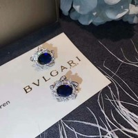 G. Bulgari Enigma Gold Diamond Jet Coral Lips Earrings
