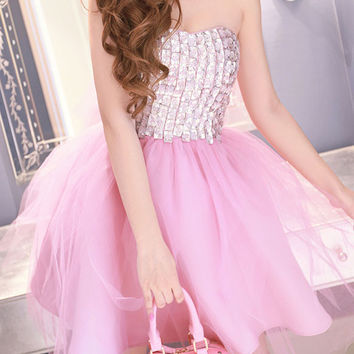 2016 Homecoming Dress Rhinestone Stitching Lace Mini Tutu Tube Dress
