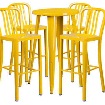 24'' Round Yellow Metal Indoor-Outdoor Bar Table Set with 4 Vertical Slat Back Barstools