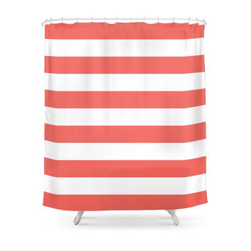 Society6 Coral Stripes Shower Curtain