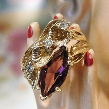 Vintage Ring Purple Amethyst Glass Faceted Stone Crystal Rhinestone Accents 18K HGE Gold Plated Ring Size 8 Eight Art Nouveau Revival