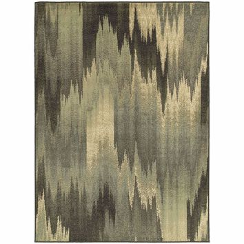 Brentwood Multi Blue Abstract Ikat Transitional Rug