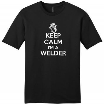 Keep Calm I'm A Welder Printed T-Shirt - Men's Crew Neck Funny T-Shirt
