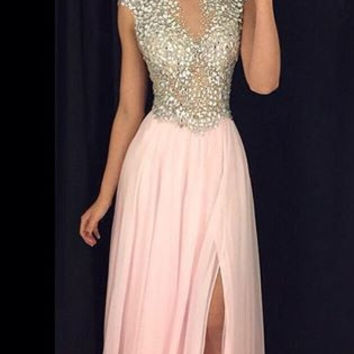 Luxurious A-line Pink Chiffon Prom Dresses Sexy Sheer Side Slit Party Dresses With Crystal Beaded Evening Dresses robe de soiree