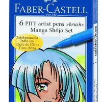 Manga Shojo Pitt Artist Brush Pens 6-Pack: Colors