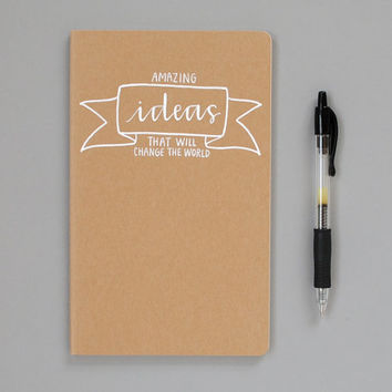 Large Notebook // Amazing Ideas That Will Change the World (Brown Kraft)