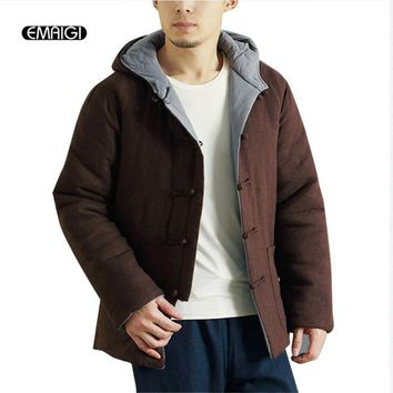 Winter Chinese Retro Mens Jacket Double Sides Wear Casual Hooded Coat Male Thick Warm Parkas Linen Cotton Padded Jacket