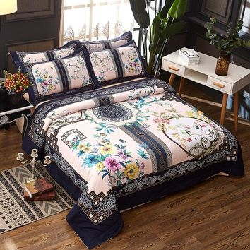 Cool 100% Cotton Chinese style Boho Bedding set Queen King size Duvet cover Bed sheet set PillowcaseAT_93_12