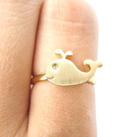 Cute Simple Whale Animal Adjustable Ring in Gold from DOTOLY