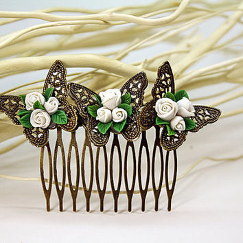 white rose Hair Comb,butterfly, bridesmaid, hair clip, hair accessories, vintage style , polymer clay flower,gift for her