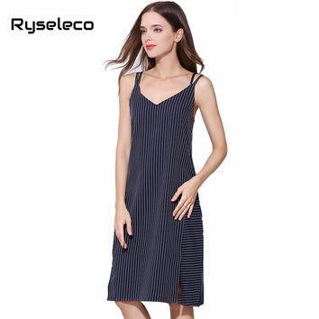 Ryseleco New Women Vertical Strip Tank Vestidos Sexy Side Splits Spaghetti Strap Criss Cross Cut Out Back Knee Length Midi Dress
