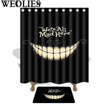 "Funny Cool ""We're All Mad Here"" Great Big Toothy Grin Shower Curtain"