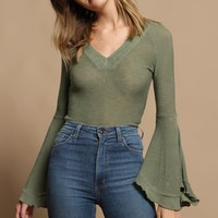Free People Soo Dramatic Long Sleeve Top - Moss