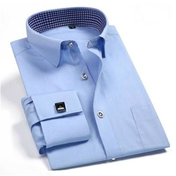New high quality mens Solid white Slim dress shirts Business French cufflinks Tuxedo cotton male long sleeve shirts S-4XL