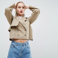 ASOS WHITE Cropped Military Trench at asos.com