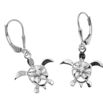 STERLING SILVER 925 RHODIUM HAWAIIAN PLUMERIA HONU TURTLE LEVERBACK EARRINGS CZ