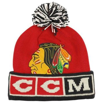 CCM Chicago Blackhawks Cuffed Knit Hat with Pom - Red