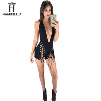 Gothic Style 5 Colors  Bodysuit Women V Neck Sexy Backless Back Zipper Skinny Rompers Sleeveless