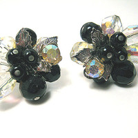 Vintage Vendome Earrings Silver Plated Cluster with Rhinestone AB Crystal Beads Black Faceted Beads Clip on Back Mid Century Womens