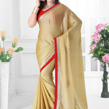 Cream Satin Designer Saree With Velvet Blouse