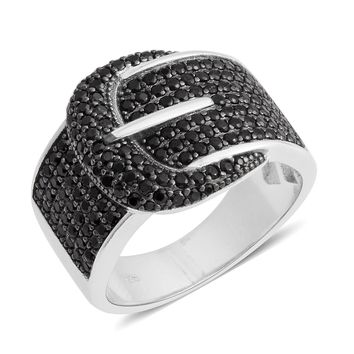 Black Spinel Black Sterling Silver Buckle Ring
