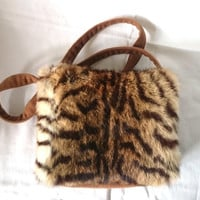Crossbody bag rabbit fur tiger printed, little handbag, fashion shoulder bag chic and trendy, handmade purses, made in France