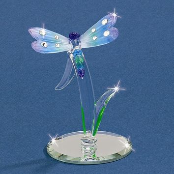 Rainbow Dragonfly Glass Figurine