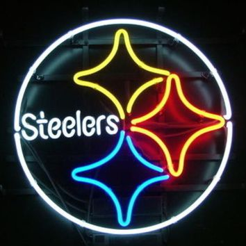 Business Custom NEON SIGN board For Football LED Pittsburgh Steelers REAL GLASS Tube BEER BAR PUB Club Shop Light Signs 15*15""