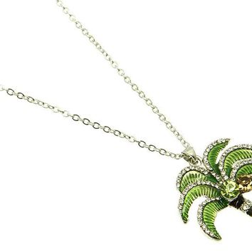 Green Palm Tree Link Necklace