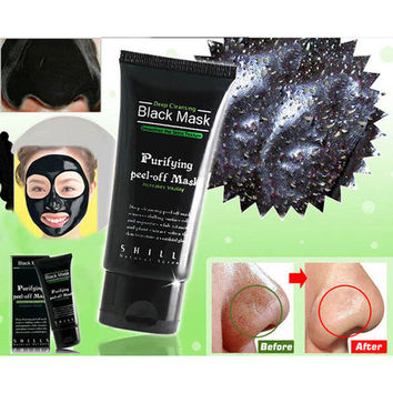 Deep Cleansing Purifying Peel Off Mud Blackhead Face Mask Black Mask Remove Black Head Makeup Beauty +Free Gift Random Choker