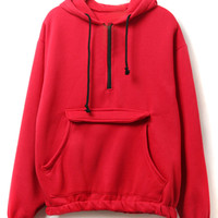 Red Zipper Pocket Detail Fleece Lining Long Sleeve Hoodie