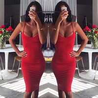 Red Spaghetti Straps Crisscross Backless Bodycon Midi Dress