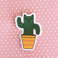 Cat Saguaro Cactus Vinyl Sticker