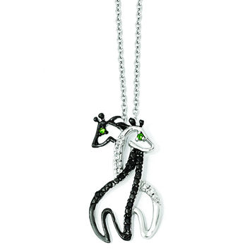Cheryl M Sterling Silver CZ & Rhodium Giraffes 18in. Necklace QCM866