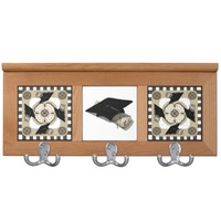 Charcoal Cream White Mortarboard Caps Coat Rack